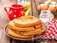 Рецепта Хрупкави пържени филийки с яйца, прясно мляко, канела и сода (бакпулвер)